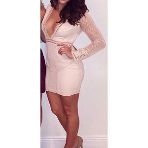 BodyCalendar Long Sleeve Cream Dress